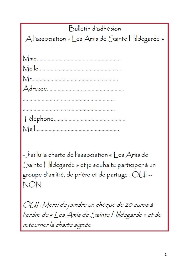 Bulletin d adhe sion a l association 1